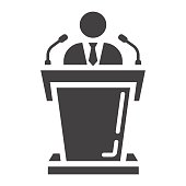 Speaker solid icon, business and tribune, vector graphics, a glyph pattern on a white background, eps 10.