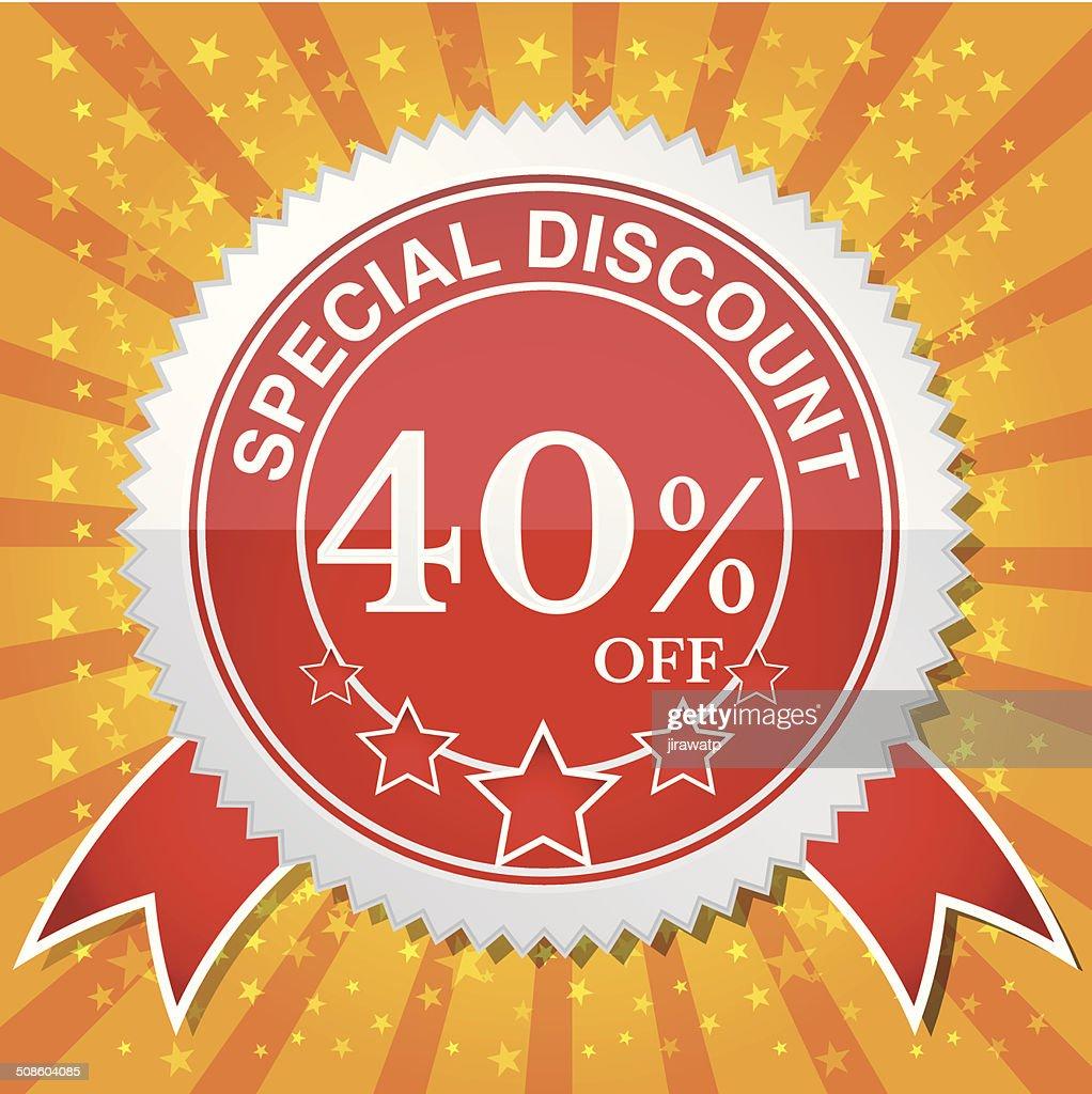 Descuento especial 40% de descuento : Arte vectorial