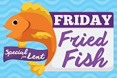 Promo design for special dish for Lent on Friday: fried fish.