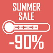 Illustration of a white thermometer on a red background that shows a discount sale With the inscription Summer Sale, an illustration on a discount theme