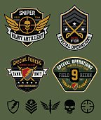 Army-inspired special ops military patch set. Vector eps for easy editing.