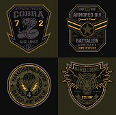 Original military-inspired patches suitable for modification for multiple uses.