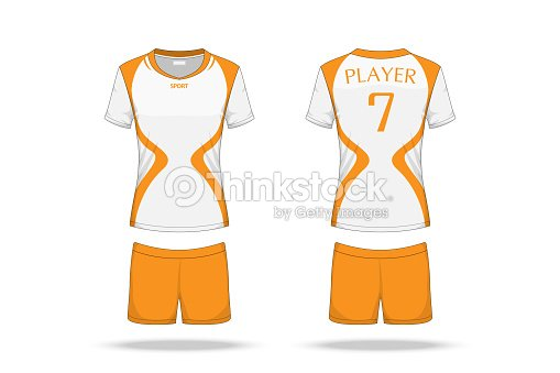 bcfc5c035 Specification Volleyball Jersey isolated on white background , Sport T Shirt  round neck and short pants template. mockup team uniform .