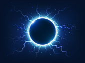 Spectacular electricity thunder shining spark and lightning surround blue electric ball. Power bright energy plasma sphere surrounded electrical lightnings storm isolated vector background realism