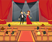 Spectators watch representation in the theater. Artists perform on stage in theatrical productions. vector illustration.