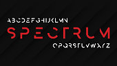 Spectrum regular futuristic decorative sans serif typeface design. Vector alphabet, letters, font, typography.