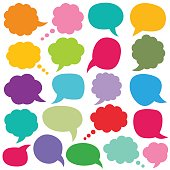 Speech and thought bubbles set, isolated design elements