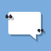Speech bubble and quotation marks. Vector illustration isolated on a blue background for posting your quote or text