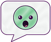 speech bubble and surprised emoticon vector illustration