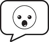speech bubble and surprised emoticon vector illustration line design