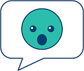 speech bubble and surprised emoticon vector illustration blue and green design