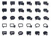 speech bubble set, communication, talk and dialog icons