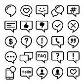 Comments icon collection - speech bubbles graphic elements in black isolated on white