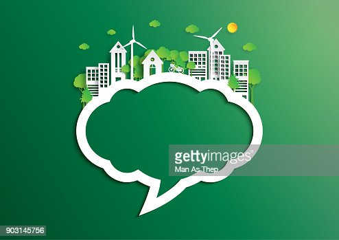 Speech bubble of green city of environment concept paper art style : stock vector