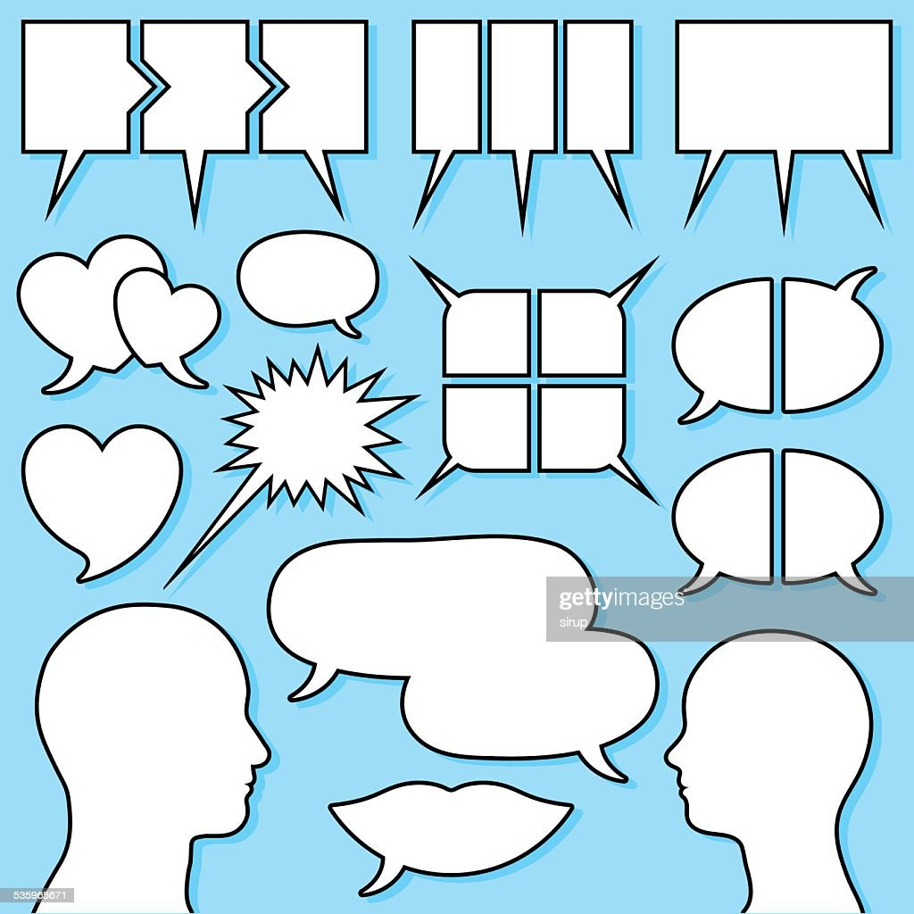 speech bubble set with male and female head silhouette : Vector Art
