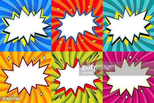 吹き出しのセット。ポップアート スタイルあなたの設計のための空白の音声泡テンプレートです。明確な空のビッグバン漫画吹き出しは、カラーのツイスト背景に。Web バナーに最適 : ベクトルアート