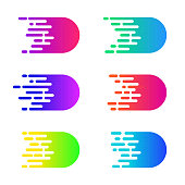 Speed concept. Vector motion comics effect. Colorful simple speed lines. Bright fast move icons.