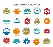 Speed gauge icons. Vector circular barometer or meter sign. Ser of color flat indicators illustration