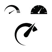 Vector art: speed icon set isolated on white background.