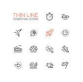 Speed - modern vector single thin line icons set. Timer, bullet, boomerang, fist, rocket, meter, car, sneaker, arrow, snail, rabbit, flag