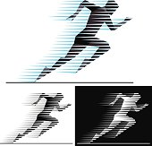 Silhouettes of running athletes with speed motion trails - geometric style.