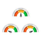 Speedometer icon isolated on white background. Vector illustration. Eps 10.