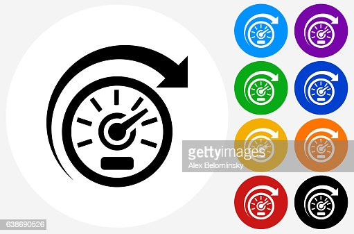 Speedometer Icon On Flat Color Circle Buttons Vector Art ...