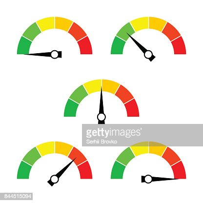 Speedometer icon or sign with arrow. Collection of colorful Infographic gauge element. : stock vector