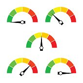 Speedometer icon or sign with arrow. Collection of colorful Infographic gauge element. Vector illustration.