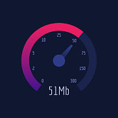 Speedometer Internet Speed 300 mb. Vector Illustration. Vector Icon.