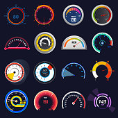 Speedometer vector car speed dashboard panel and speed-up power measurement illustration set of speed-limit control technology gauge with arrow or pointer isolated on background.