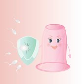 Spermatozoon attack the female vaginal condom, which keeps the shield. World Contraception Day. Cartoon characters.