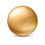 Golden glossy sphere isolated on white with shadow and reflections in the color of the sphere. Vector illustration for your design, easy to edit and change the size