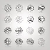 Gray sphere with halftone fill and mirror reflection, isolated on white background, vector illustration.