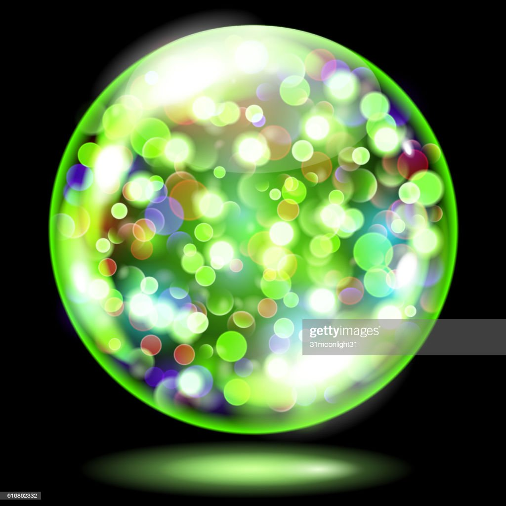 Sphere with sparkles in green colors : Vector Art