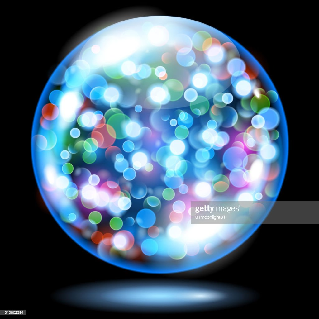 Sphere with sparkles in light blue colors : Vector Art