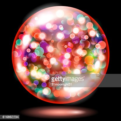 Sphere with sparkles in red colors : Vector Art