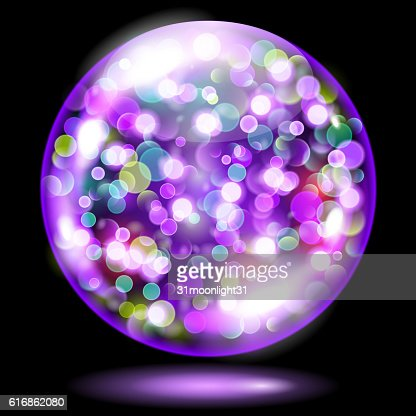 Sphere with sparkles in violet colors : Vector Art