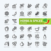Spices, condiments and herbs  - minimal thin line web icon set. Outline icons collection. Simple vector illustration.