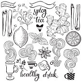 Set of ingredients for a healthy drink: cranberry,ginger, mint,lemon, cinnamon, star anise, cloves.