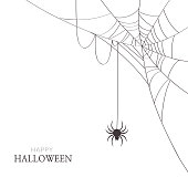 Halloween,holiday,spider,web,cobweb,black,white,greeting,card,decoration,design,illustration