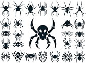 A set of spider shapes in different styles: natural, cute cartoon, spider skull design and tribal tattoo style.