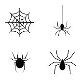Vector art: spider black symbols.