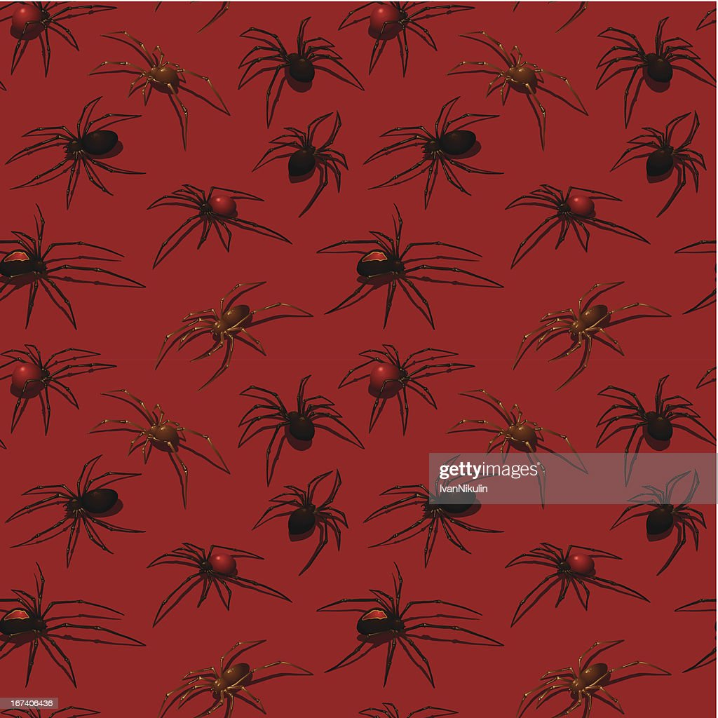 Spiders on red background seamless pattern : Vector Art