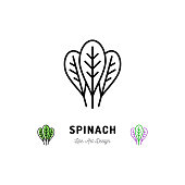 Spinach leaves icon Vegetables  Spice. Thin line art design, Vector outline illustration