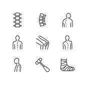 Spine, backbone line icons. Orthopedics clinic, medical rehab, back trauma, broken bone, posture correction, scoliosis. Health care thin linear hospital signs. Pixel perfect 64x64. Editable Strokes
