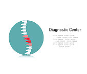 Spine icon. Diagnostic center. Spine with pain symbol in a flat style. Vector illustration