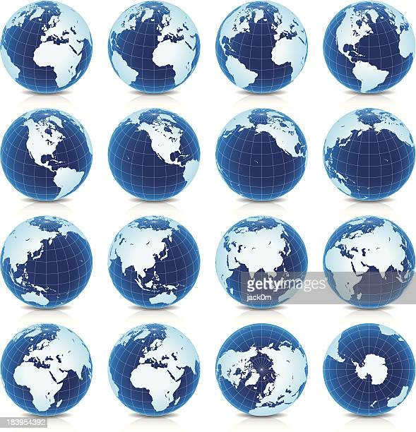 Spinning Earth Globe Icon Set, latitude 30° N view