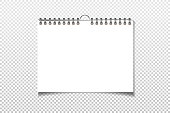 Spiral blank wall calendar mock up. White sheets of paper isolated on background. Vector illustration
