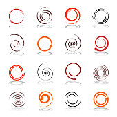 Set of spiral design elements. Vector art.